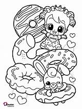 Coloring Donuts Printable Cartoon Donut Teenage Bubakids sketch template