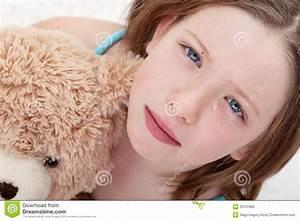 Little Sad Crying Girl With Teddy-bear Stock Image ...