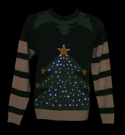 unisex green led light up tree knitted jumper