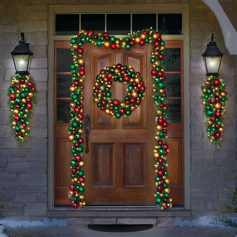cordless pre lit 27 quot christmas wreath ornaments holiday