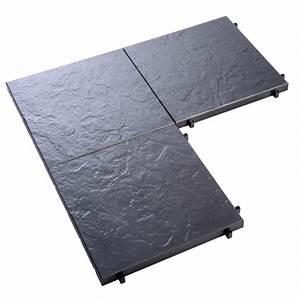 Dalle Plastique Exterieur : lot de 12 dalles composite imitation ardoise 39 x 39 cm ~ Edinachiropracticcenter.com Idées de Décoration