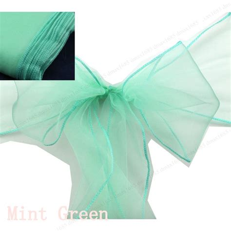 50 mint green tying chair sashes wedding organza chair