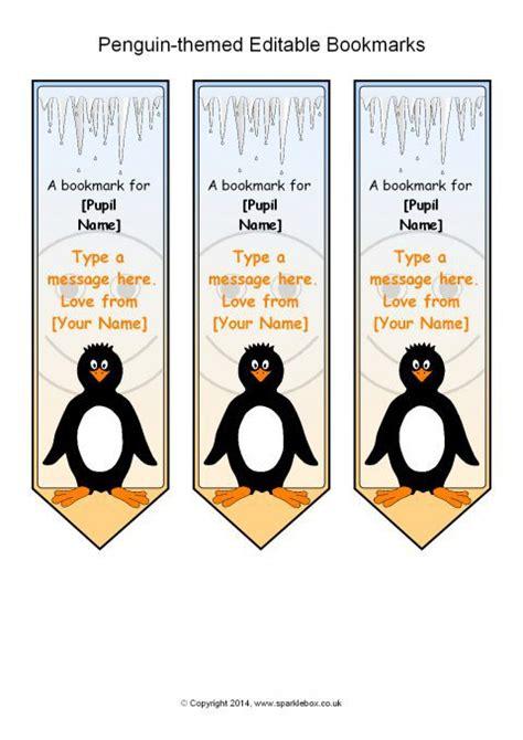 penguin themed editable bookmarks sb sparklebox