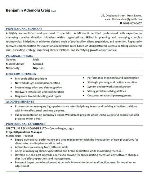 good cv sample jobsvacancies nigeria