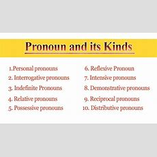 10 Kinds Of Pronouns In English  All Types Of Pronouns With Definition