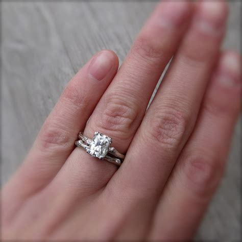 wedding ring connectors radiant cut forever one or supernova moissanite twig 9939