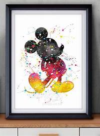 artwork for home Disney Mickey Mouse Watercolor Art Poster Print – Wall Decor – Watercolor Painti…   NEW ...