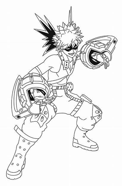 Academia Hero Coloring Bakugo Katsuki Draw Izuku