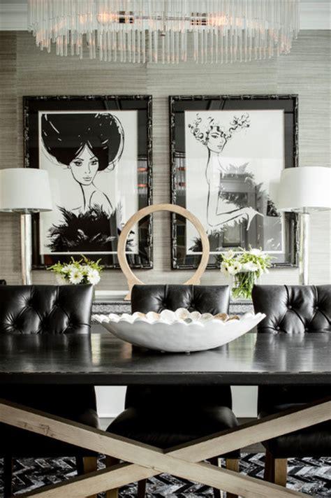 Cowhide Rugs Nyc by Herringbone Cowhide Rug In A Black White Dining Room