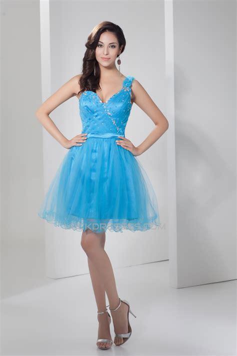 Short/Mini Fine Netting Sleeveless A-Line Prom/Formal ...
