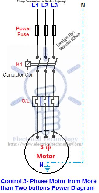 3 Phase Motor Wiring Drawing 3 phase motor from more than two buttons power