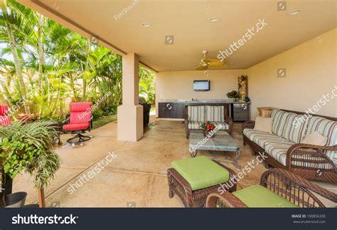 outdoor deck patio furniture luxury home stock photo