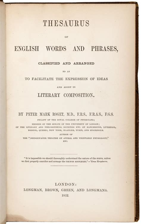 Image result for 1852 - The first edition of Peter Roget's Thesaurus