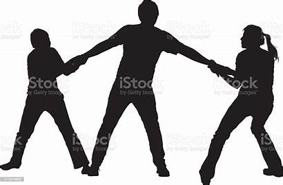 Fighting Sibling Siblings Vector Father Pulling Silhouettes