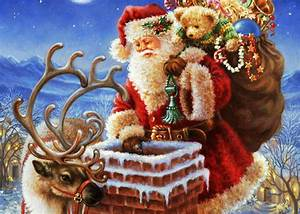 Santa enters house through chimney placing secret gifts ...