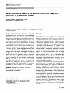 Pdf  Effects Of Chemical Modification On The Structure And Mechanical Properties Of Starch