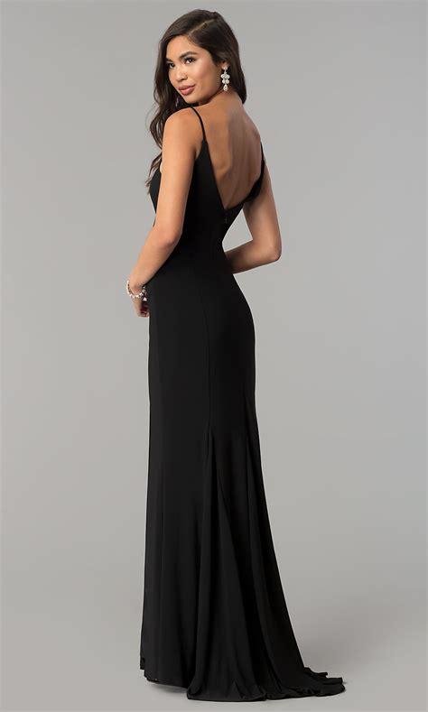 Black Long Prom Dress with Open V-Back - PromGirl