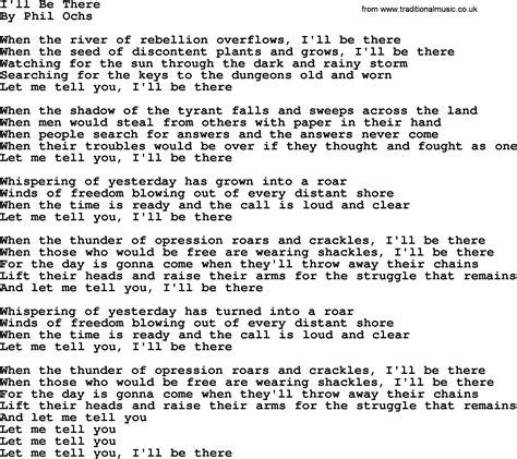 Phil Ochs Song  I'll Be Therephilochs, Lyrics