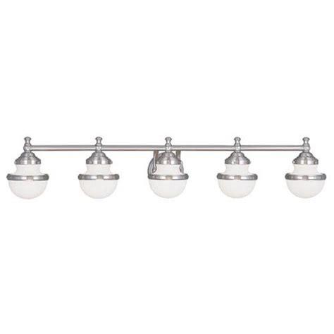 Five Fixture Bathroom by Livex Lighting Oldwick Brushed Nickel 45 Inch Five Light
