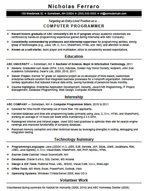 Programming Languages Resume by Free Entry Level Computer Programming Resume Template Sle Ms Word