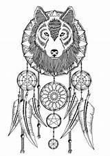 Catcher Dream Dreamcatcher Coloring Pages Tattoo Wolf Adult Wolves Catchers Printable Tattoos Colouring Adults Mandala Spirit Dreamcatchers Ribs Google Drawing sketch template