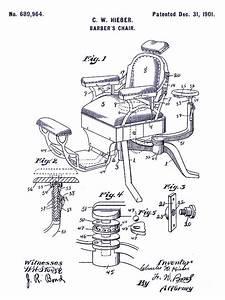 1901 Barber Chair Patent Blueprint Drawing By Jon Neidert