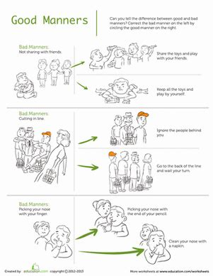 manners worksheets manners worksheet education com