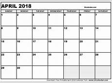 April 2018 Calendar Cute printable calendar weekly