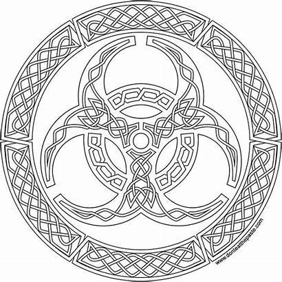 Biohazard Coloring Mandala Knot Knotwork Pages Symbol