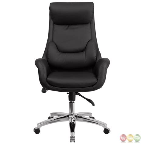 high back black leather executive swivel office chair with