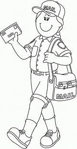 Coloring Mailman Community Helper Pages Pdf sketch template