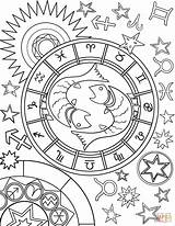 Zodiac Coloring Pisces Sign Pages Signs Printable Adult Mandala Star Aquarius Astrology Adults Supercoloring Crafts Colors Yahoo Symbols Drawing Games sketch template