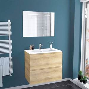 Meuble Salle De Bain Bois Naturel : ensemble salle de bains meuble ipoma bois plan vasque r sine miroir lumineux l80 5 x h71 5 x p50 ~ Teatrodelosmanantiales.com Idées de Décoration