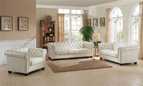 White Leather Living Room : Monaco Pearl White Leather Living Room Set From Amax
