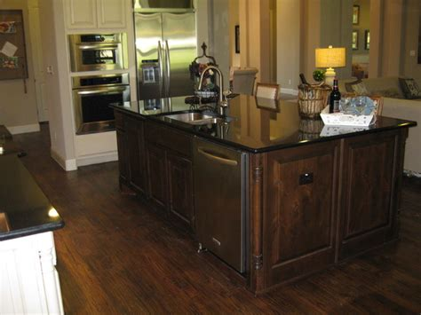 stained knotty alder island burrows cabinets traditional