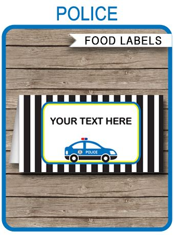 police party food labels place cards police theme