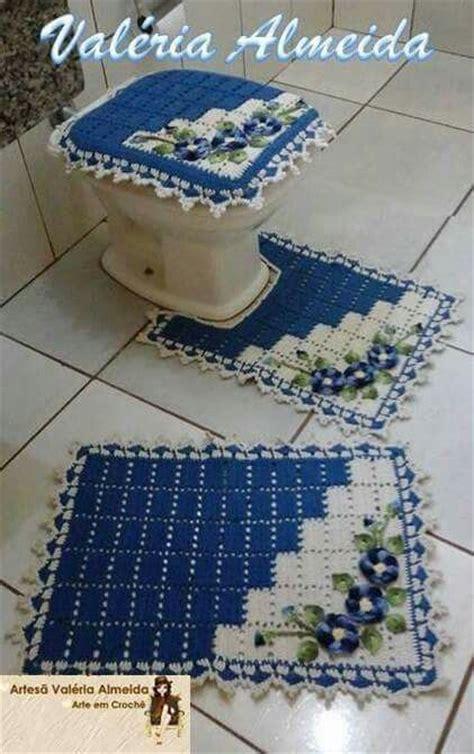 jogo de banheiro duas cores   Lindas peças de croche