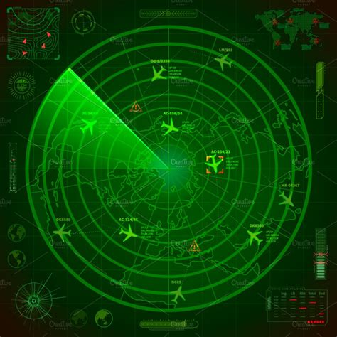 It can be used to detect aircraft, ships, spacecraft, guided missiles, motor vehicles, weather formations, and terrain.a radar system consists of a transmitter producing electromagnetic waves in the radio or. Abstract military radar display ~ Illustrations ~ Creative Market