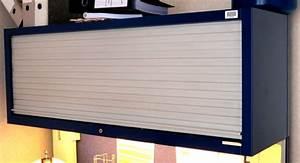Armoire A Rideau Coulissant : armoire metallique suspendue a 1 rideau coulissant horizontal de couleur bleue et grise dim 45 x 12 ~ Melissatoandfro.com Idées de Décoration
