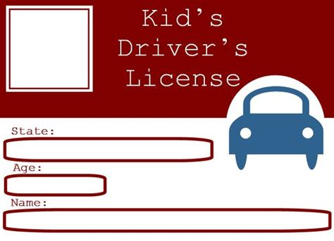 blank drivers license template  kids