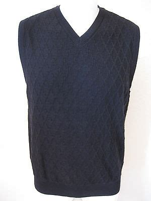 new mens sweater vest m tasso elba black classic woven cotton v neck 55 medium usd 33 24