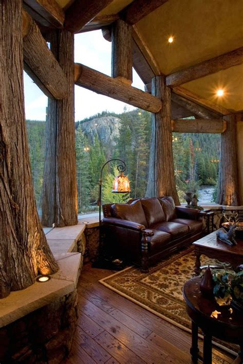 cabin living room 47 extremely cozy and rustic cabin style living rooms Empty