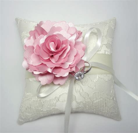 wedding ring pillow indian pink bloom on cream lace ring