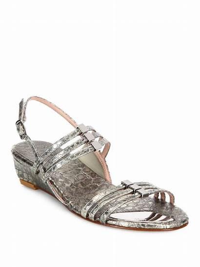 Stuart Weitzman Sandals Wedge Metallic Snake Silver