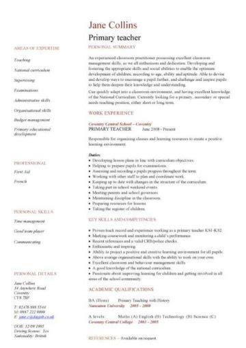 teacher cv template lessons pupils teaching job school