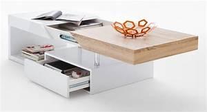 Table Basse Blanc Bois : table basse bois et blanc laqu design en image ~ Teatrodelosmanantiales.com Idées de Décoration