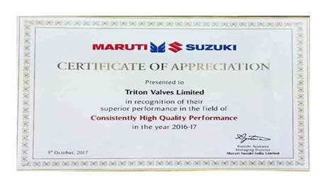 Suzuki Certification by Awards And Certifications Triton India Challenging