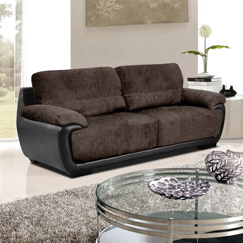 Overton Chenille Brown Fabric Sofas With Black Leather
