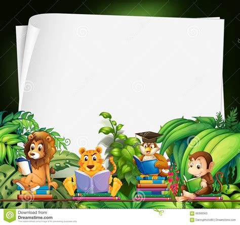 border design  wild animals reading books stock vector