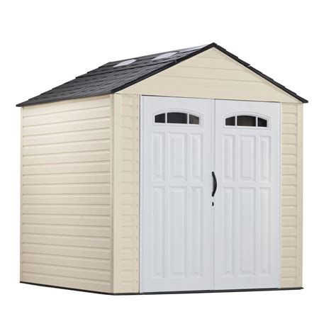 rubbermaid 7 ft x 7 ft plastic storage shed beige ivory